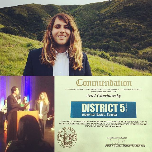 """Thank you Supervisor @davidcanepa for the """"Citizen of the Year"""" award representing Brisbane in recognition of efforts to connect youth with #sanbrunomountain and steward its environment through community-based ecological restoration! #sanmateocounty #district5 #brisbaneca #district5together #environmentaleducation #ecologicalrestoration"""