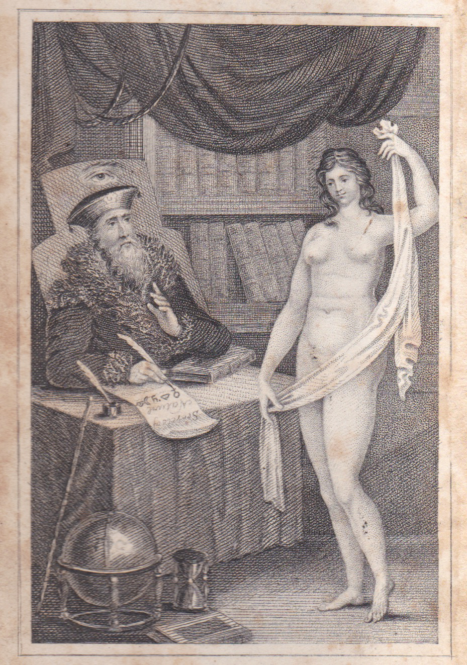 Frontispiece to an 1820s edition of 'Aristotle's Masterpiece', a spurious 17th century sex manual,  brilliantly covered here by Mary Fissell .