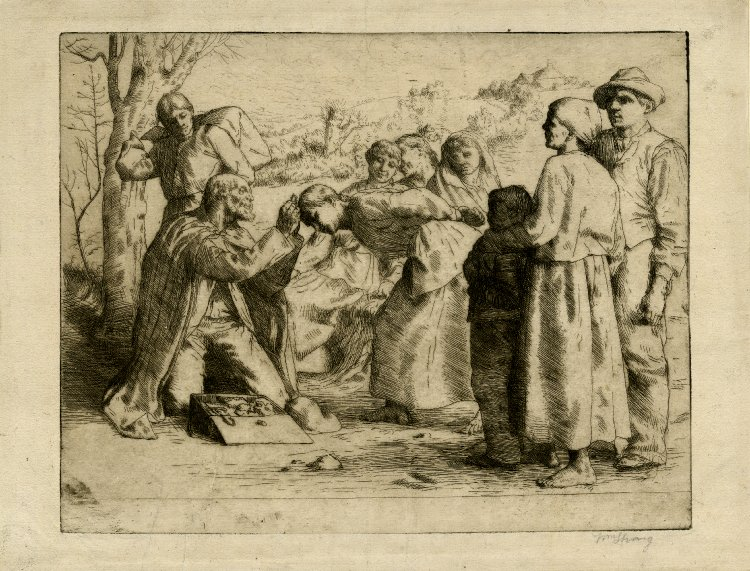 "The Trinket Seller. William Strang . 1883. Etching and drypoint. From the British Museum: ""To left, a trinket seller kneels to right with an open box of his wares by his side; a woman is bending towards him and he is placing a necklace over her head. A group of potential customers in rustic dress look on."" CC BY-NC-SA 4.0."