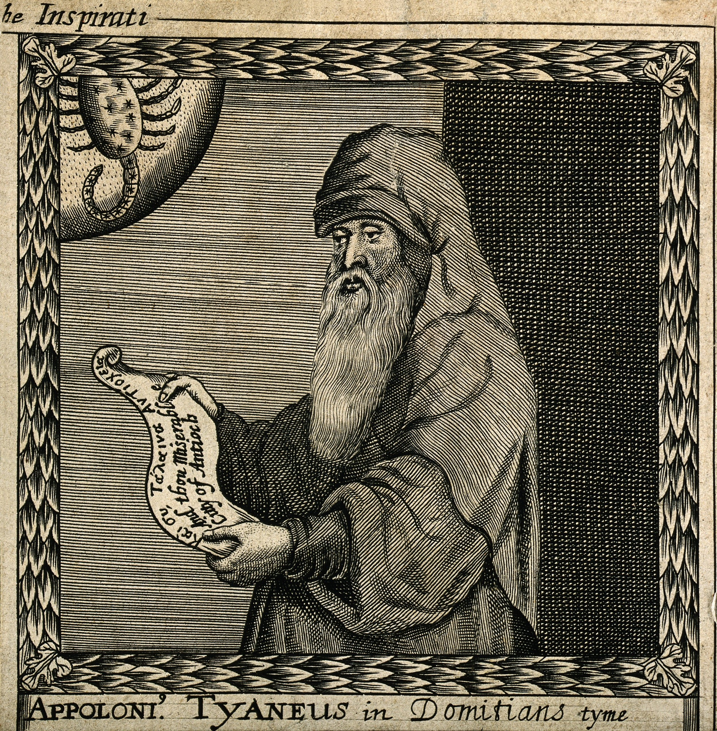 Old man of the sea: Apollonius of Tyana. Line engraving by F. Cleyn, 1659. Reproduction from The Wellcome Trust, via  Wikimedia Commons.  CCBY4.0.