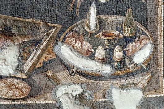 Eggs the right way, soft boiled and in cups. Detail from a 3rd century mosaic at the  Hatay Archaeological Museum  in Antakya, Turkey.