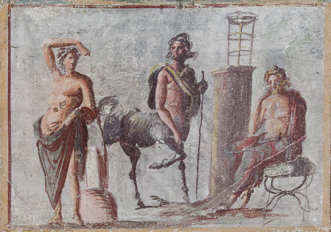 Apollo on the left, Asclepius on the right, Chiron, the friendly centaur,in the middle - they're all are associated with medicine and prophecy. This painting goes much deeper into the mythology than the discussion below, although they're roughly contemporary. The fresco is in Naples at the National Archaeological Museum. Photo was taken by  Marie-Lan Nguyen , via  wikimedia commons .