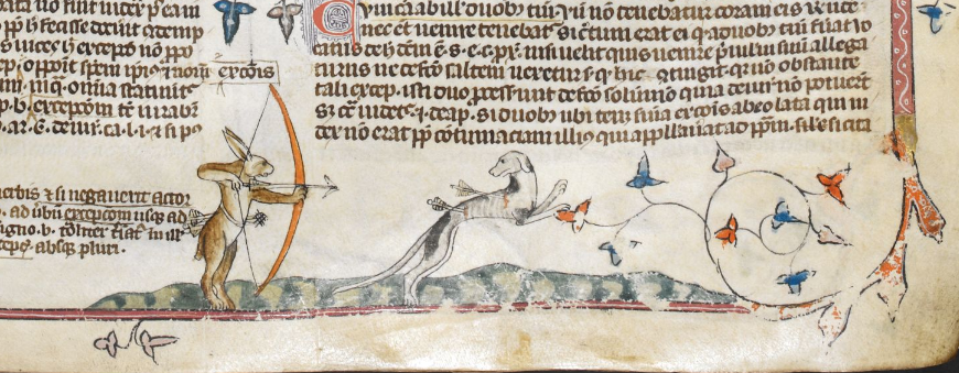 Hunting Rabbits. From the Decretals of Gregory IX. Early 14th C.  British Library Royal MS 10 E IV.  Copyright British Library.