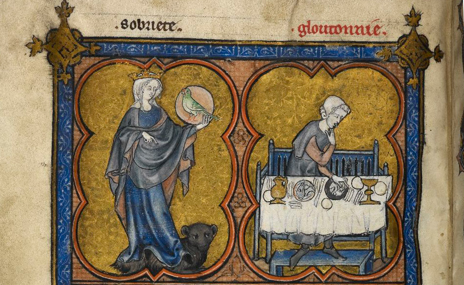 """Sobriety and Gluttony"", from the  British Library ms. add. 54180, f. 188v:"