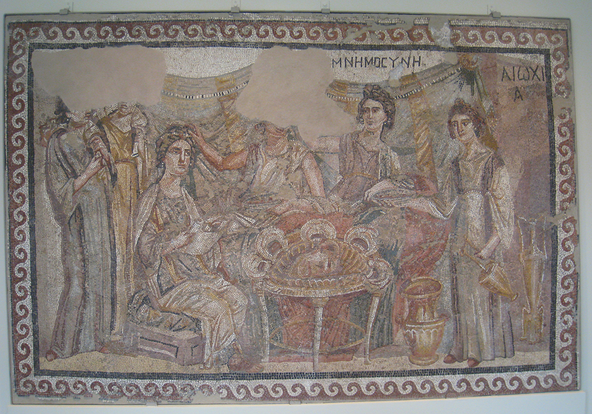 """Lang ist Die Zeit, es ereignet sich aber Das Wahre."" Mnemosyne and family, Antioch mosaic at the Worcester art museum in Massachusetts via  wikimedia commons ."
