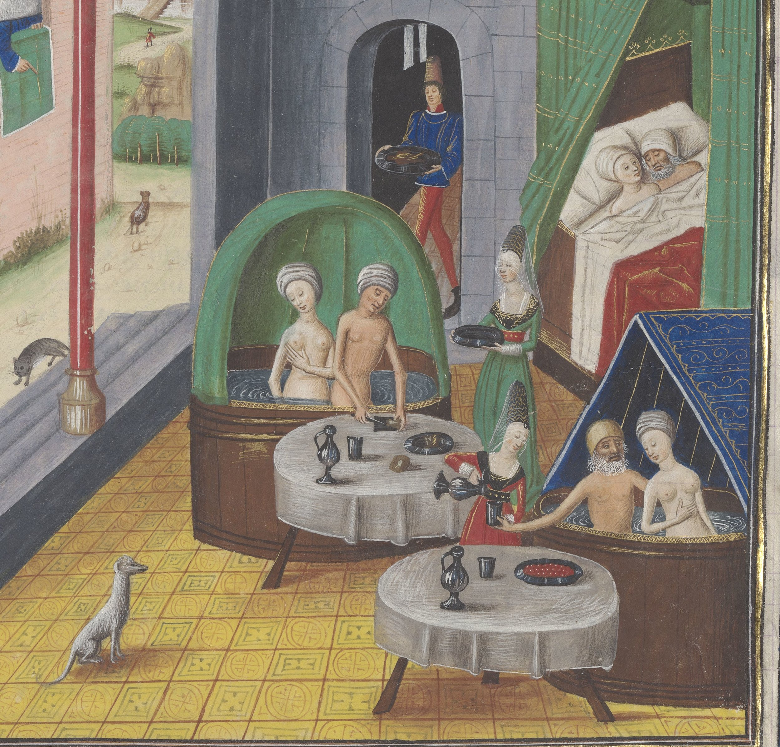 Bath house scene from  MS Arsenal 5196, fol. 372r , digitized by the BNF at Gallica. A nice  description .