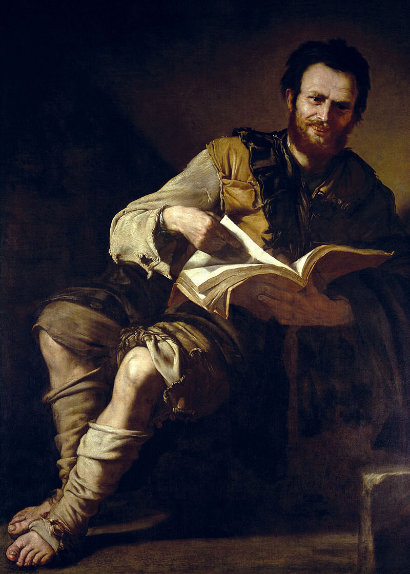 Democritus, the Laughing Philosopher. One of Ribera's from around 1635 in the collection of the Earl of Pembroke at Wilton House.  via Wikimedia Commons .