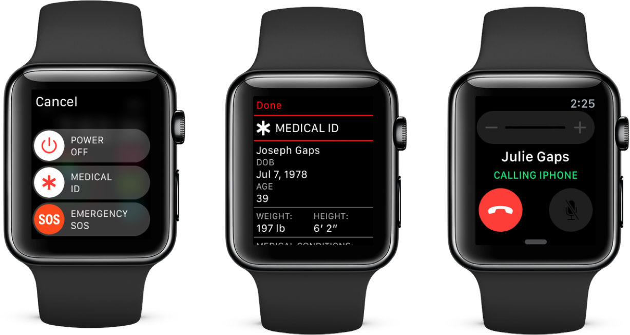 Accessing a Medical ID on Apple Watch