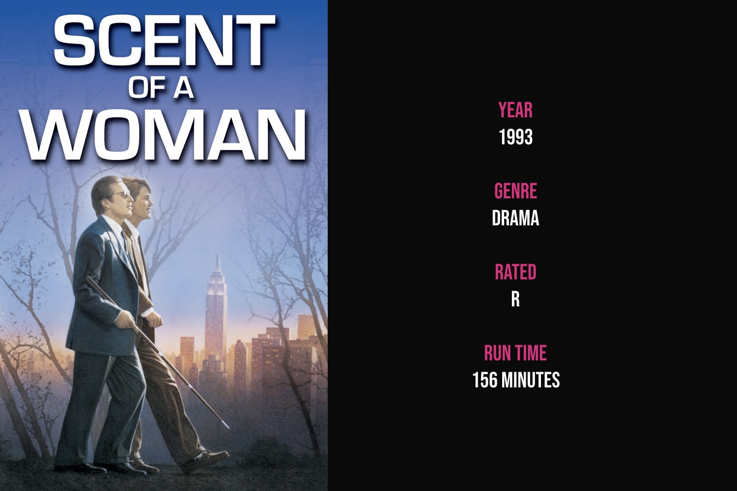 Scent of a Woman - To pay for his flight home for Christmas, a college student accepts a temporary job over Thanksgiving weekend to assist a blind and overbearing retired U.S. Army Lieutenant Colonel.iTunes | Amazon