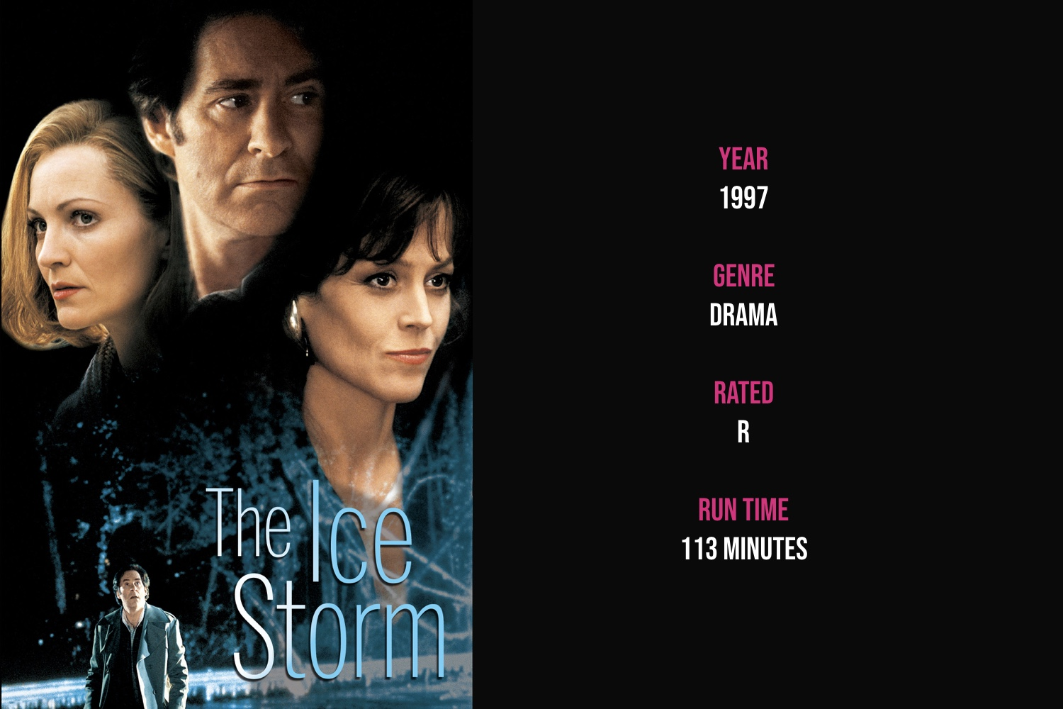 The Ice Storm - Set during Thanksgiving weekend in 1973 suburban Connecticut, two dysfunctional upper-class families experiment with casual sex, alcohol and drugs to escape the social changes of the early 1970s.iTunes | Amazon