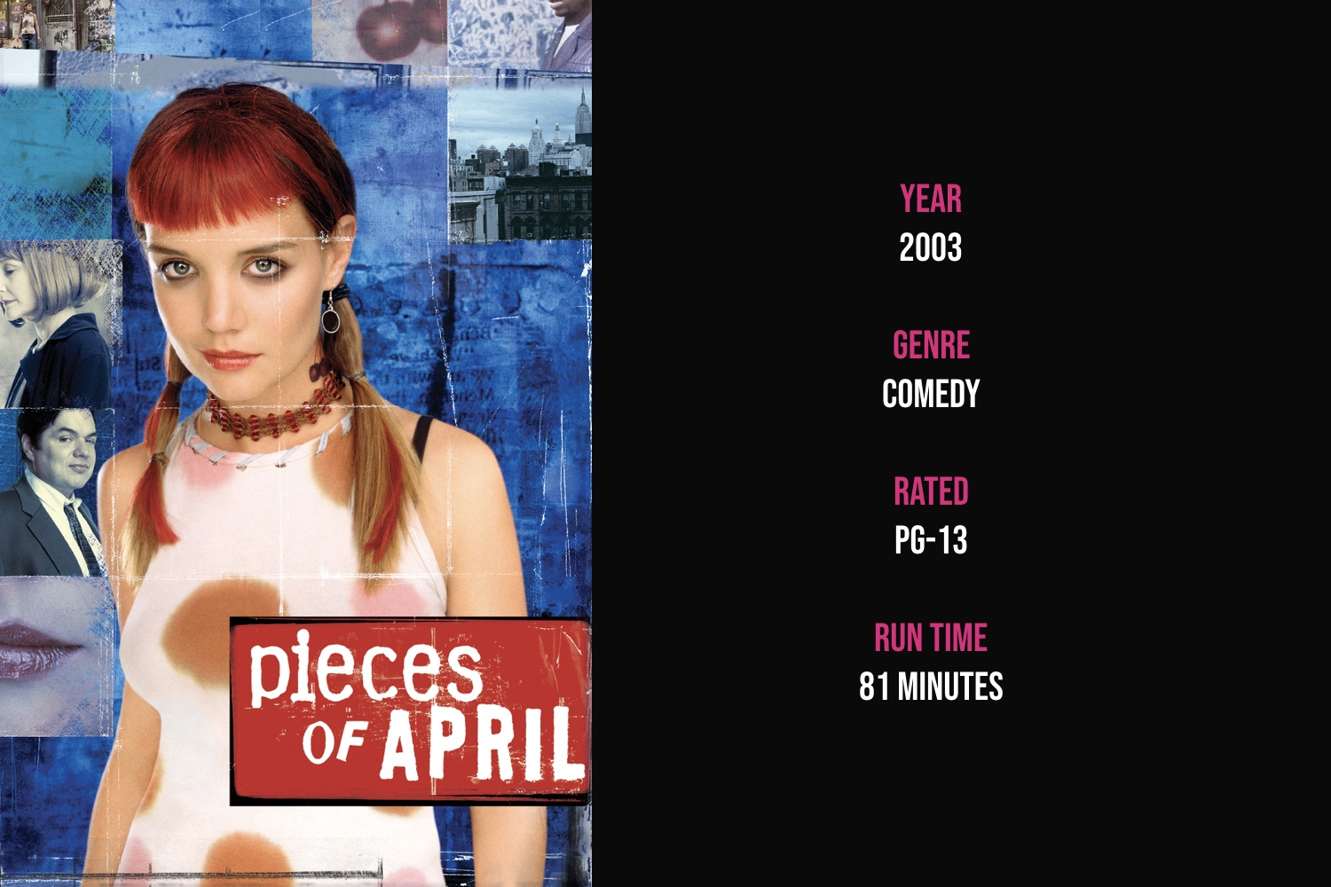 Pieces of April - The family outcast invites her conservative family and dying mother for Thanksgiving dinner at her derelict apartment in New York's Lower East Side.iTunes | Amazon
