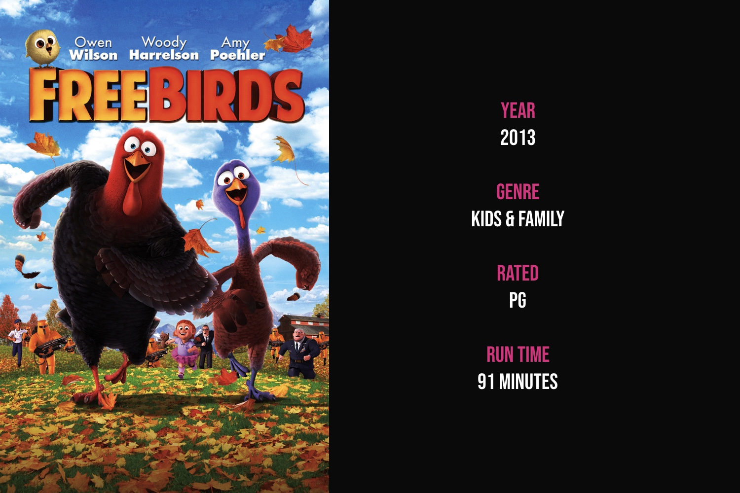 Free Birds - Two turkeys travel back in time to change the course of history –– to remove turkey from the Thanksgiving menu.iTunes | Amazon