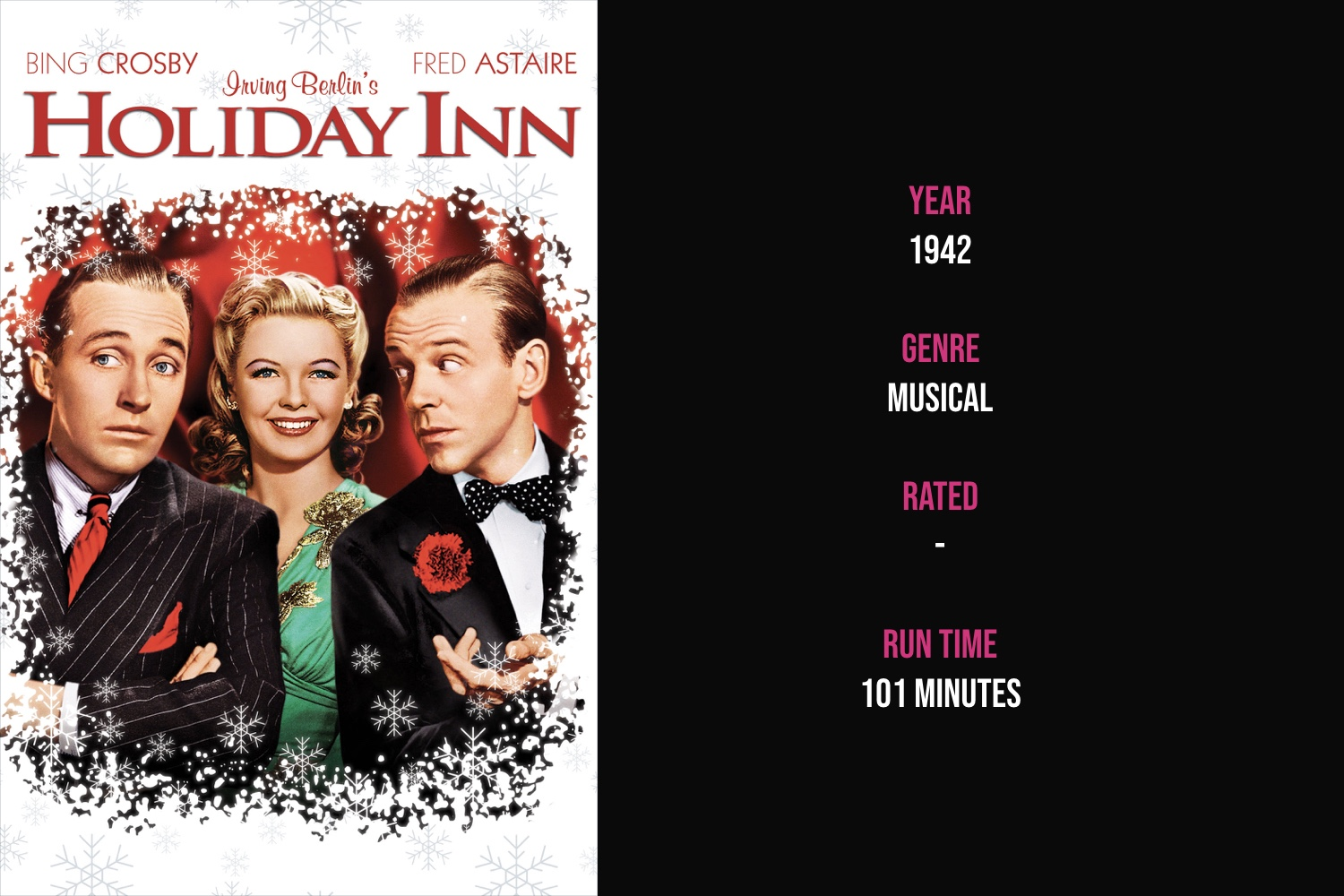 Holiday Inn - A musical comedy about two song and dance men vying for the affection of the same woman at an inn that's only open on holidays.iTunes | Amazon