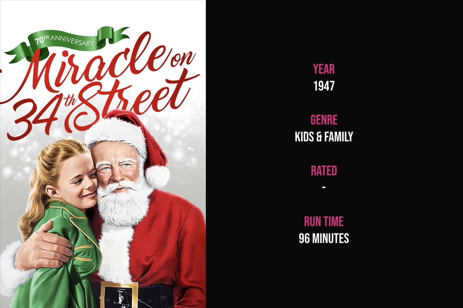Miracle on 34th Street - When a department store Santa Claus claims to be the real Santa, a young lawyer defends him. Set between Thanksgiving Day and Christmas Day in New York City.The 1994 remake is listed in The Ultimate Christmas Move Checklist.iTunes | Amazon