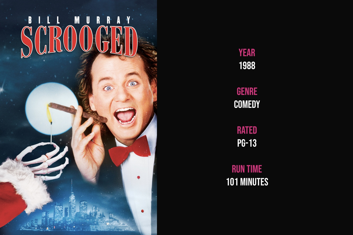 Scrooged - This hilarious retelling of A Christmas Carol portrays a cold-hearted and mean-spirited network television president who's visited by 3 ghosts on Christmas Eve for a journey through his past and future and a chance for redemption in the present.iTunes | Amazon