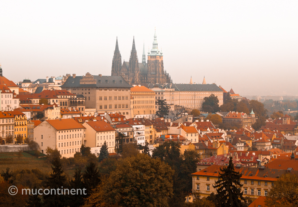 the prague castle - soaked with tone of fall