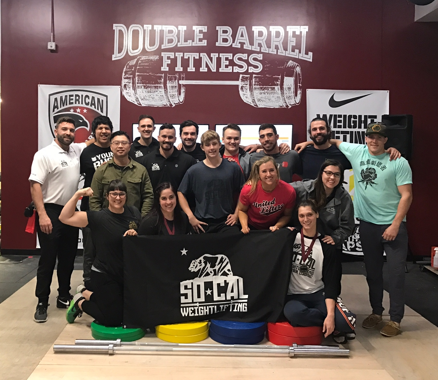 SoCal winning Best Team and Best Women's Team at the 2018 Double Barrel Open Weightlifting Meet