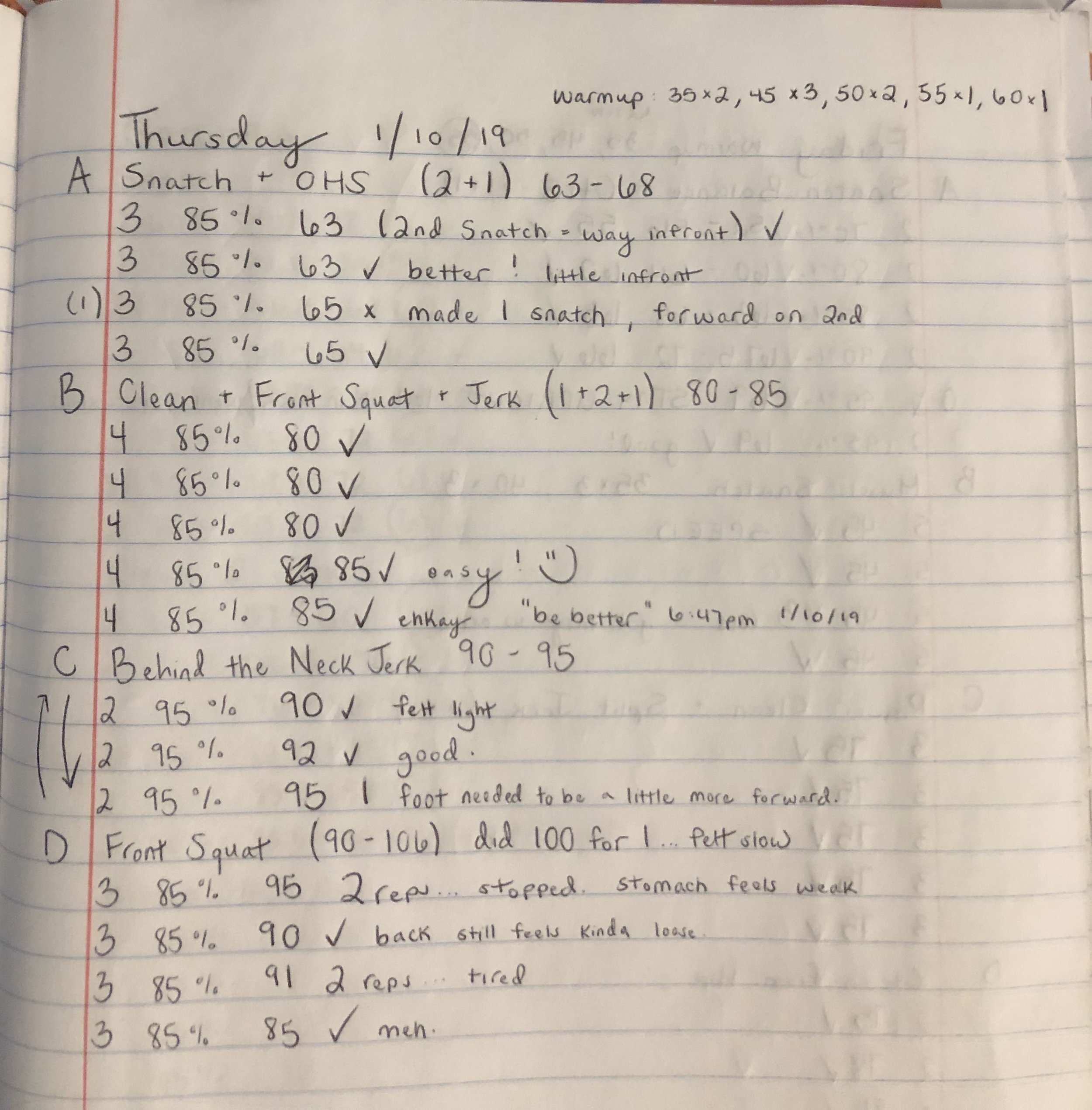 Example of a personal training log