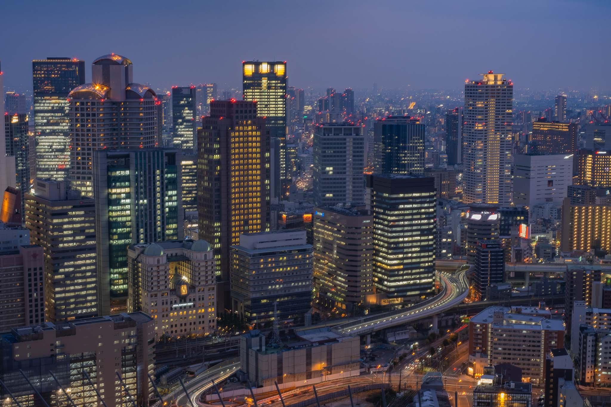 Umeda Sky Building Views with Highway through building.