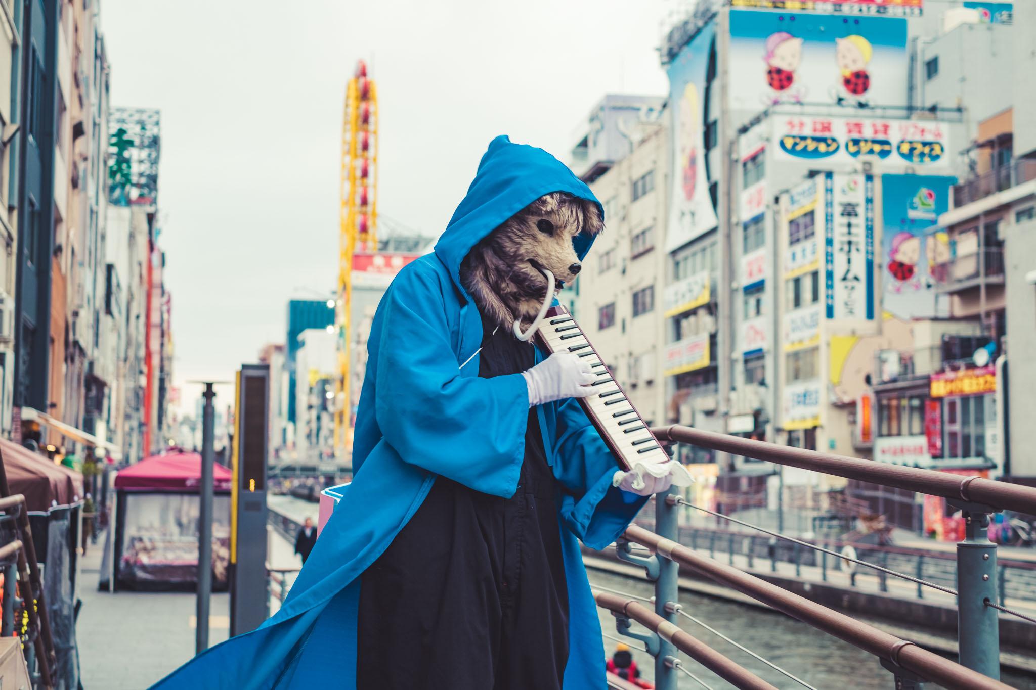 Wolf playing Melodian in Dotonbori