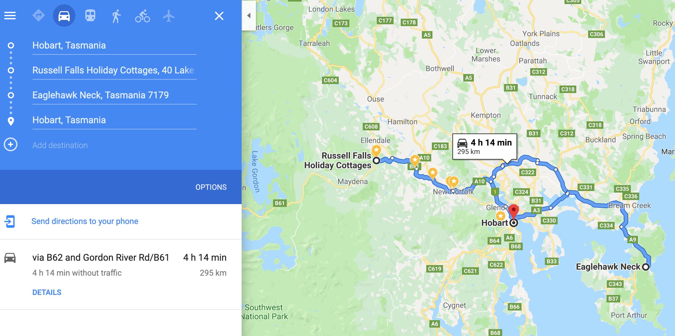 Driving Route Tasmania Photo Tours