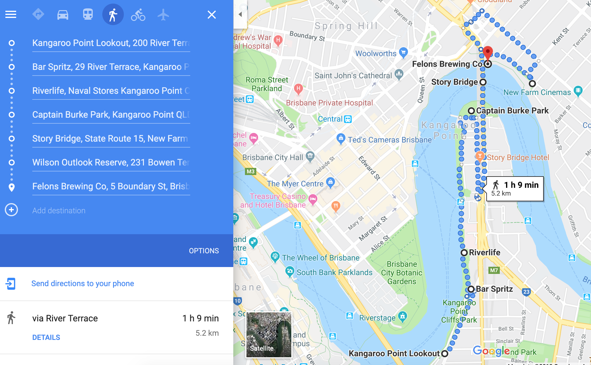 Google Map Walking Route