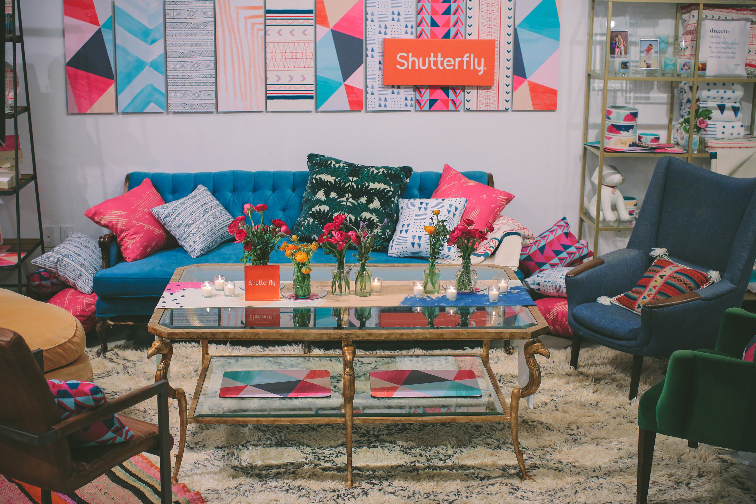 For this event I made the wall panels with Shutterfly wall art as a background behind the couch, pillows and most of the background product.