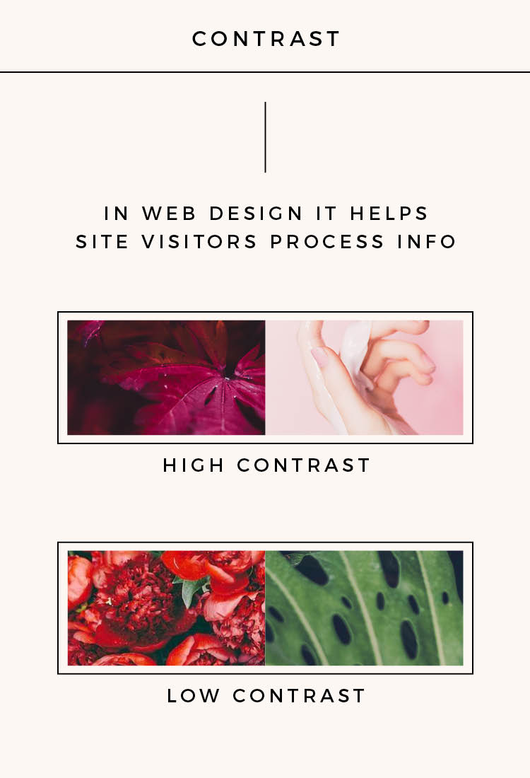 Contrast is really important for your website colors: high contrast helps visitors process information which results in a better user experience