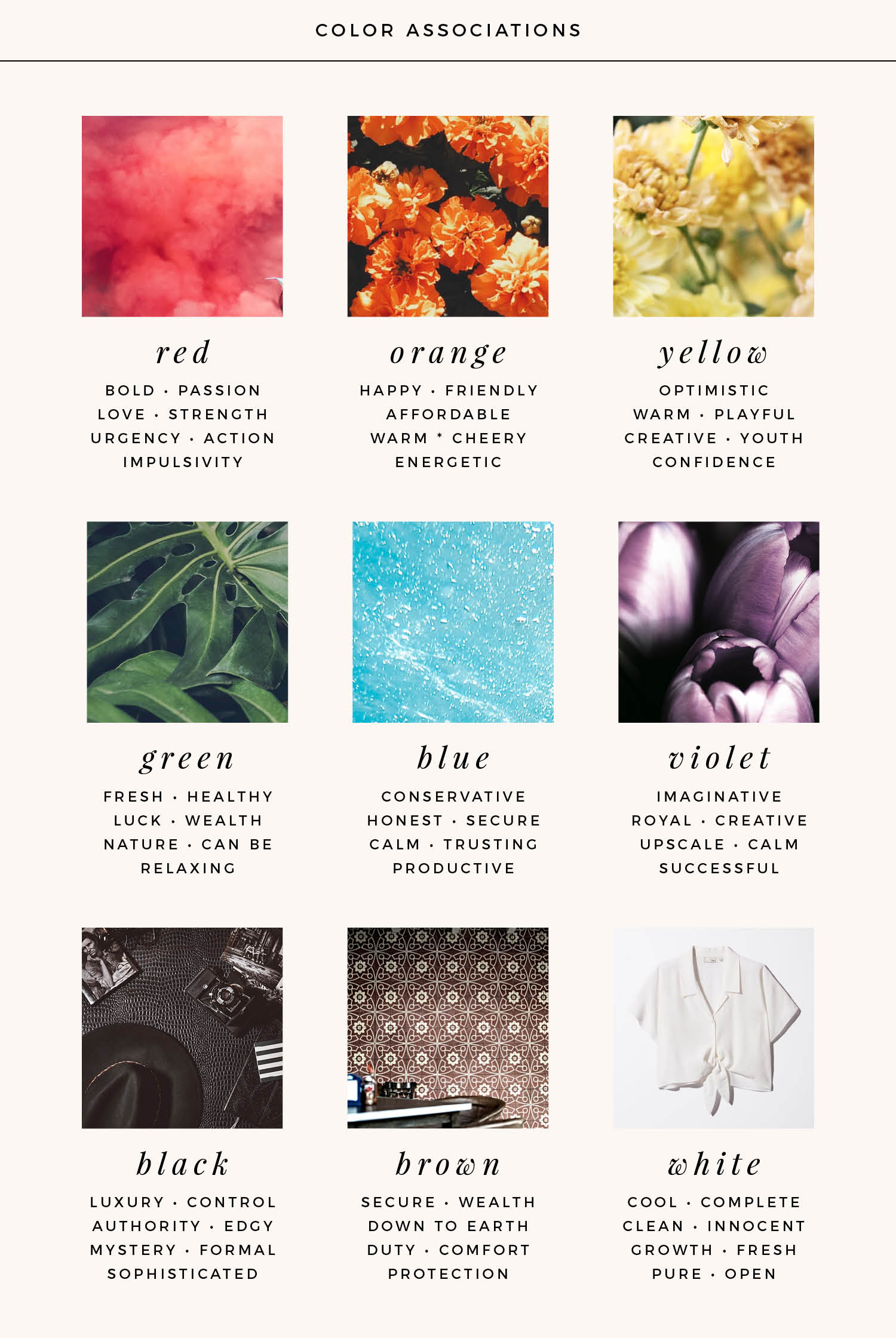 Colors play into human emotion // Here are some common color associations to help you determine the best colors for your brand!