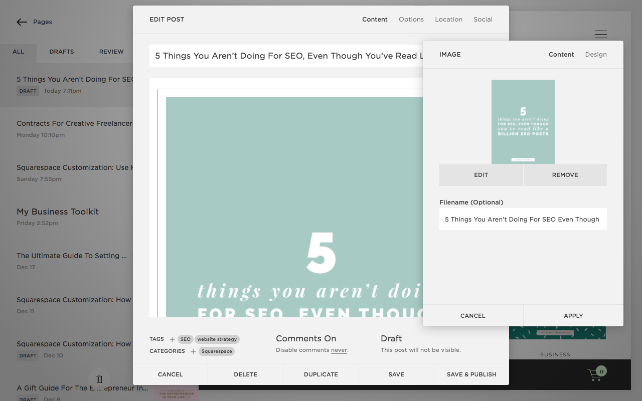 How to add alt text to images on Squarespace