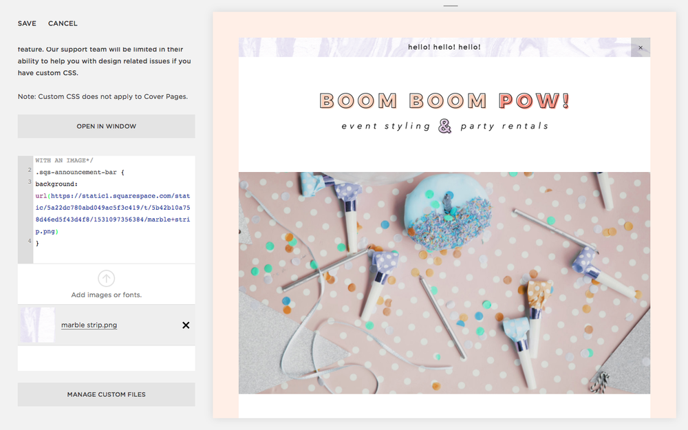 2 fun ways to customize your announcement bar in squarespace my billie designs announcement bar in squarespace
