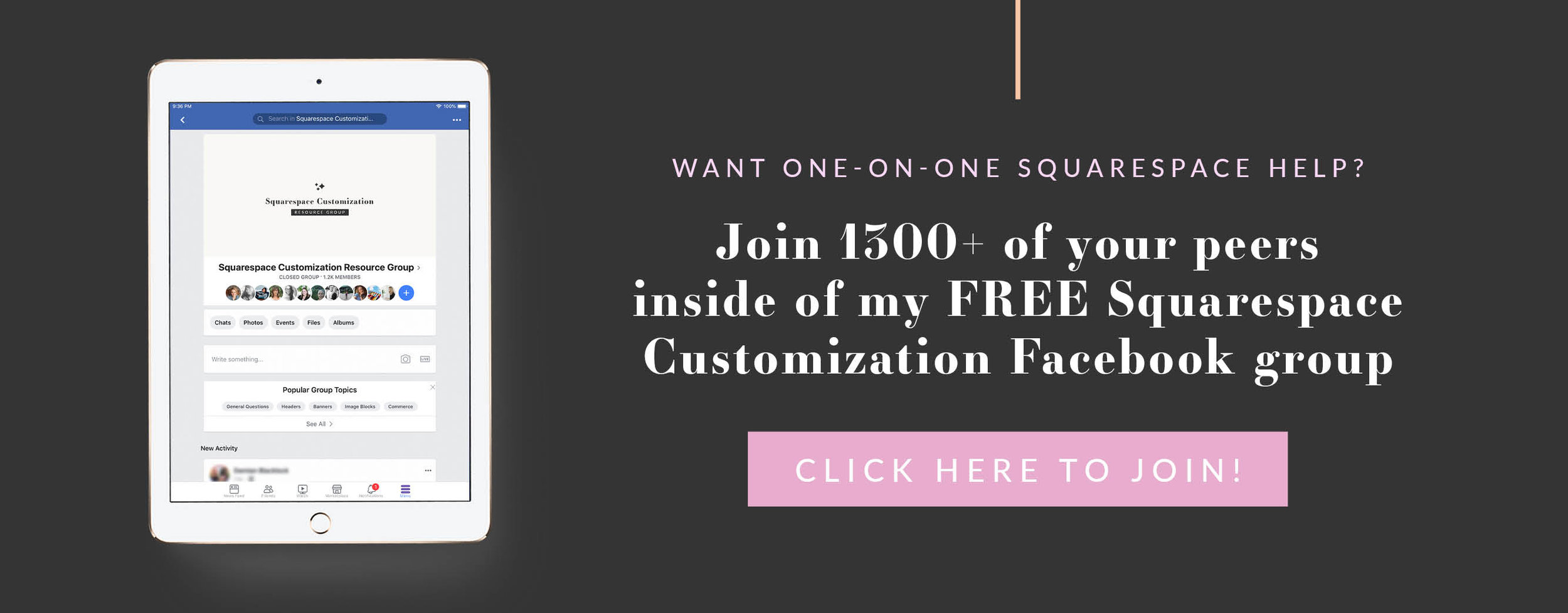Click here to get free customization help for your Squarespace website inside my free Facebook group
