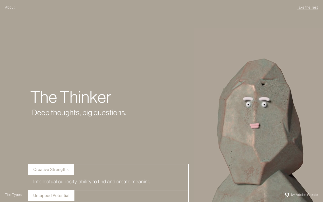 The Visionary's ideal collaborator is The Thinker. The Thinker's strengths are intellectual curiosity and the ability to find and create meaning. You can go to mycreativetype.com to take the test and see what your creative type and ideal collaborator are!