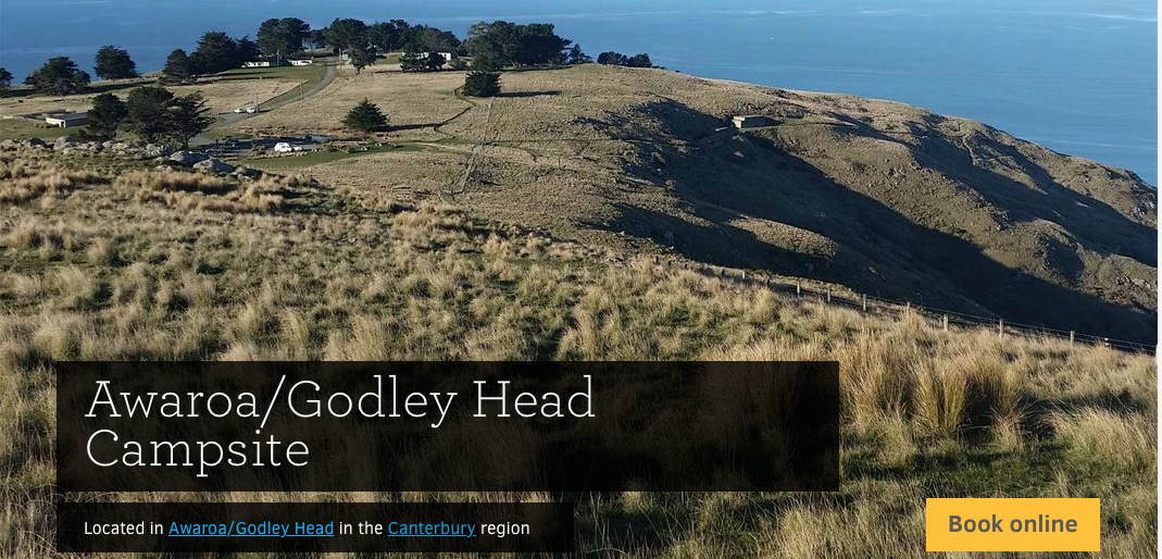 Check out the DOC Camp site at Godley Head  http://www.doc.govt.nz/godley-head-campsite