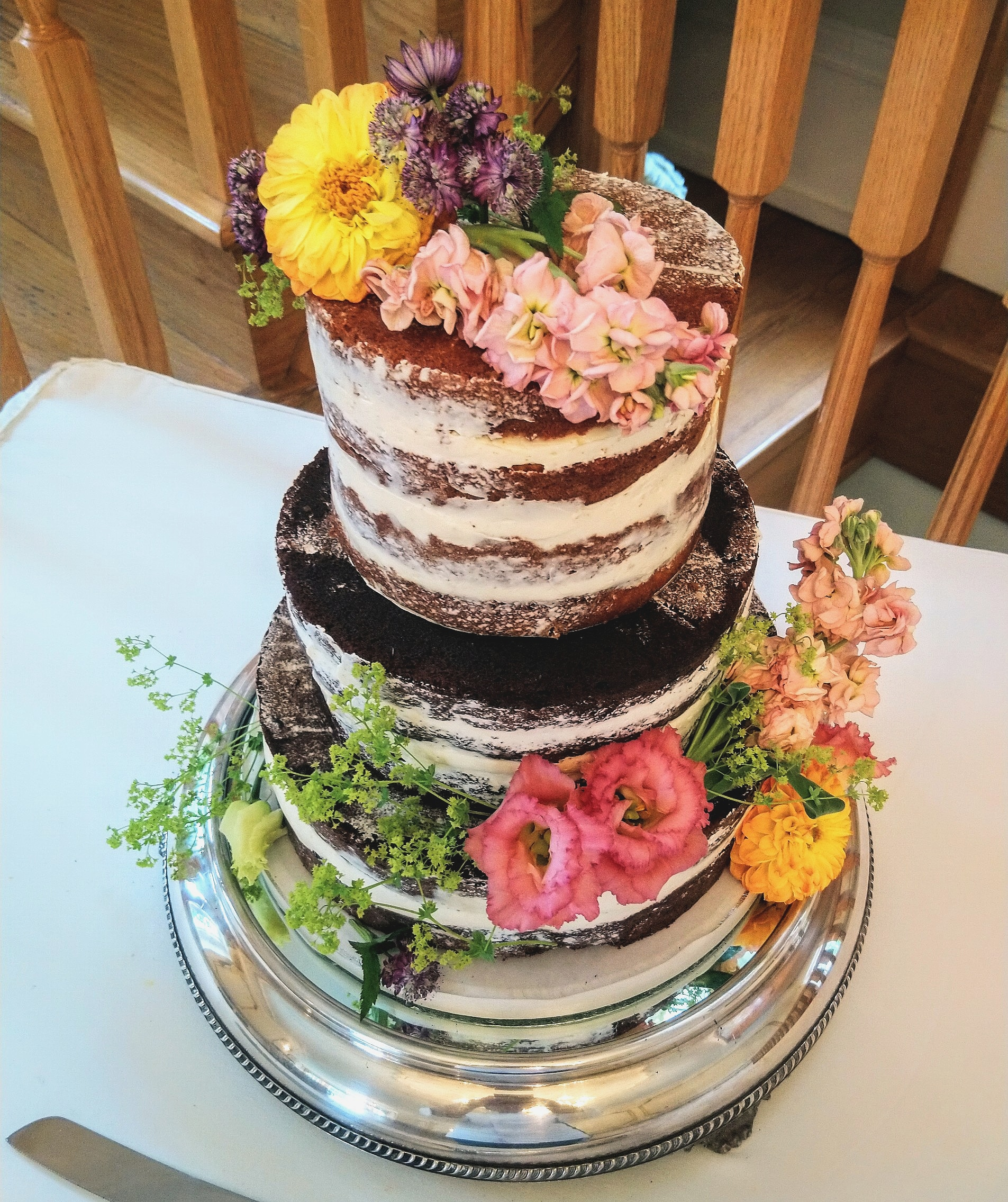 Half Dressed Rustic Wedding Cake with Flowers