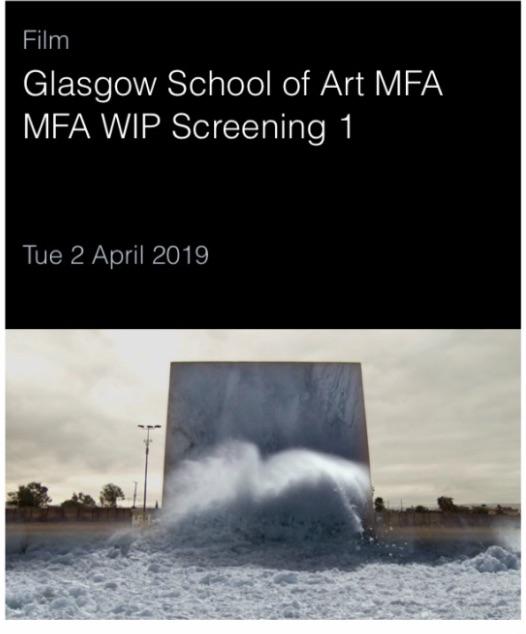 Work in Progress Screening at the Centre for Contemporary ArtCCA Glasgow - http://www.cca-glasgow.com/programme/glasgow-school-of-art-mfa-mfa-wip-screening-1