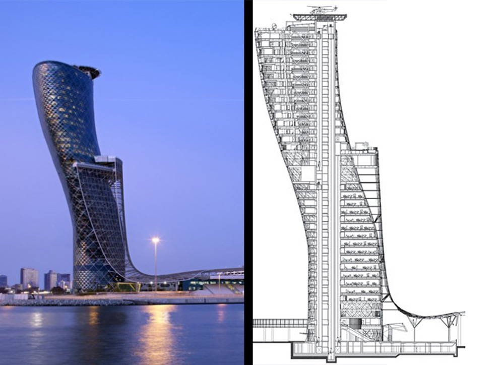 Capital Gate building in dubai left Source: desert rose tourism, http://www.desertrosetourism.com/images/hotels/i_519b3bbfdb0d72.81786958.jpg Right source: Council on tall buildings and urban habitat, http://www.ctbuh.org/Portals/0/Feature%20Archive/Tall%20Building/2012/CapitalGate/CapitalGateSection.jpg