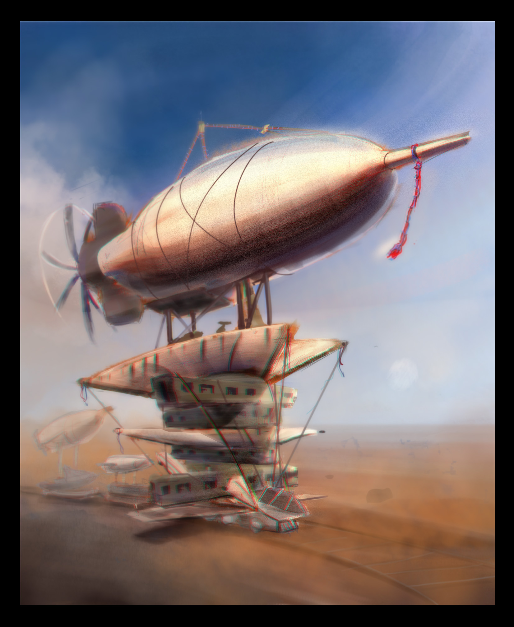 A train blimp moves through the desert.  Self Critique: Graphically clean up some elements. Many things left unclear.