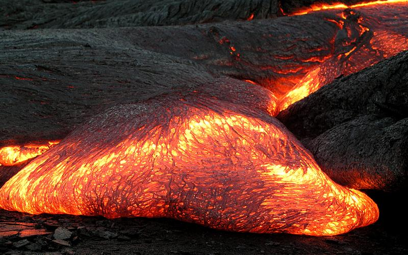"""The temperature of a Pāhoehoe lava flow can be estimated by observing its color. The result agrees well with measured temperatures of lava flows at about 1,000 to 1,200 °C (1,830 to 2,190 °F)."" [ Source ]"