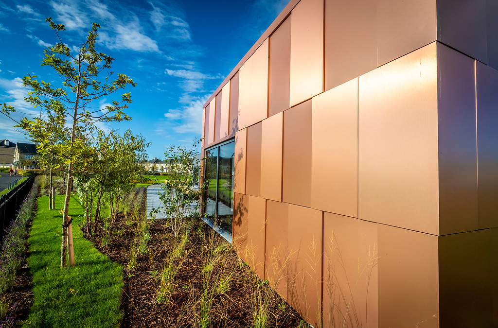 Architecturally, a copper clad exterior presents a striking presence within what is currently an open landscape, with the marketing suite providing an exciting introduction to this high quality development.