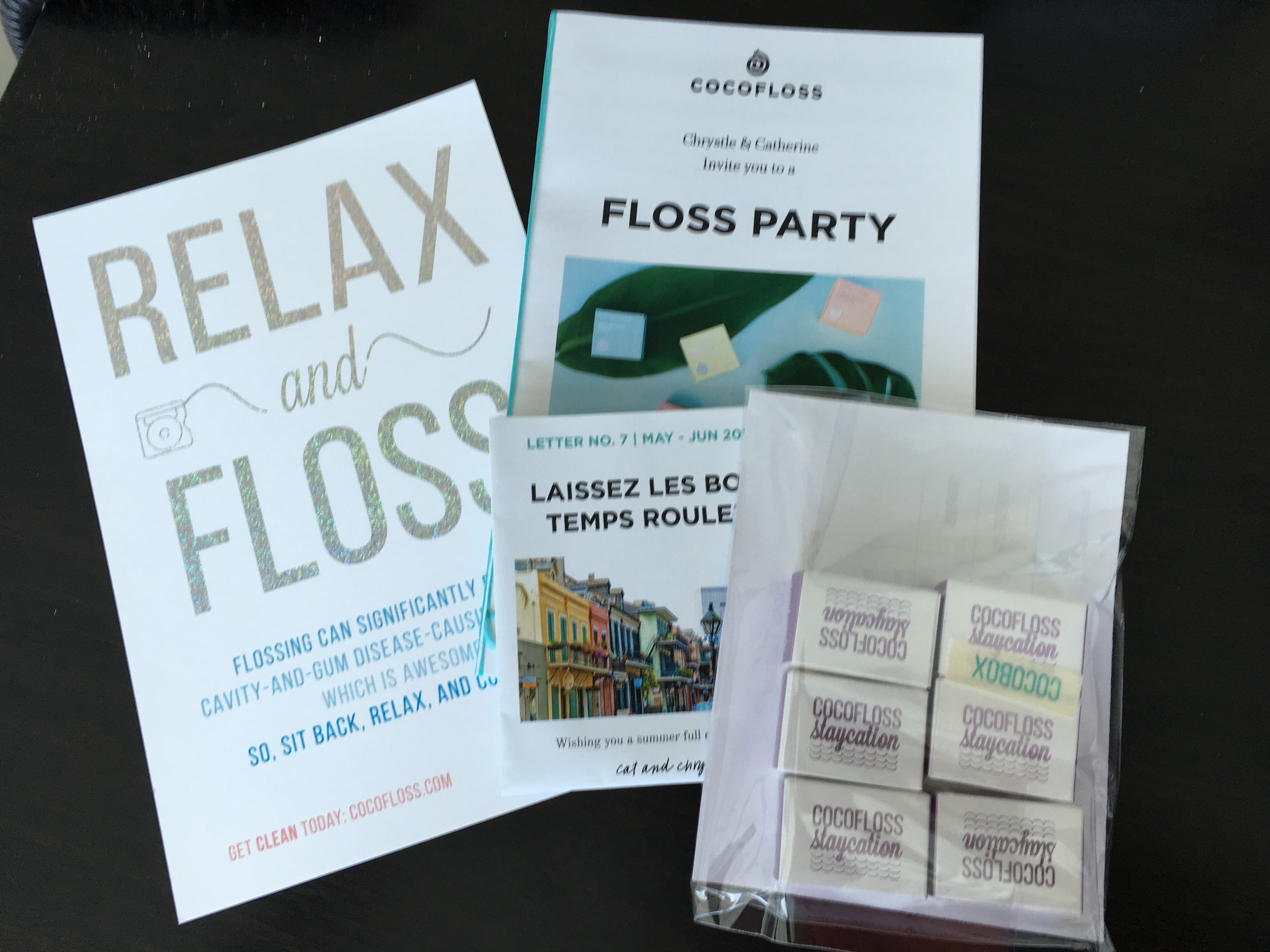 Cocofloss Samples sent to our office in cute packaging!