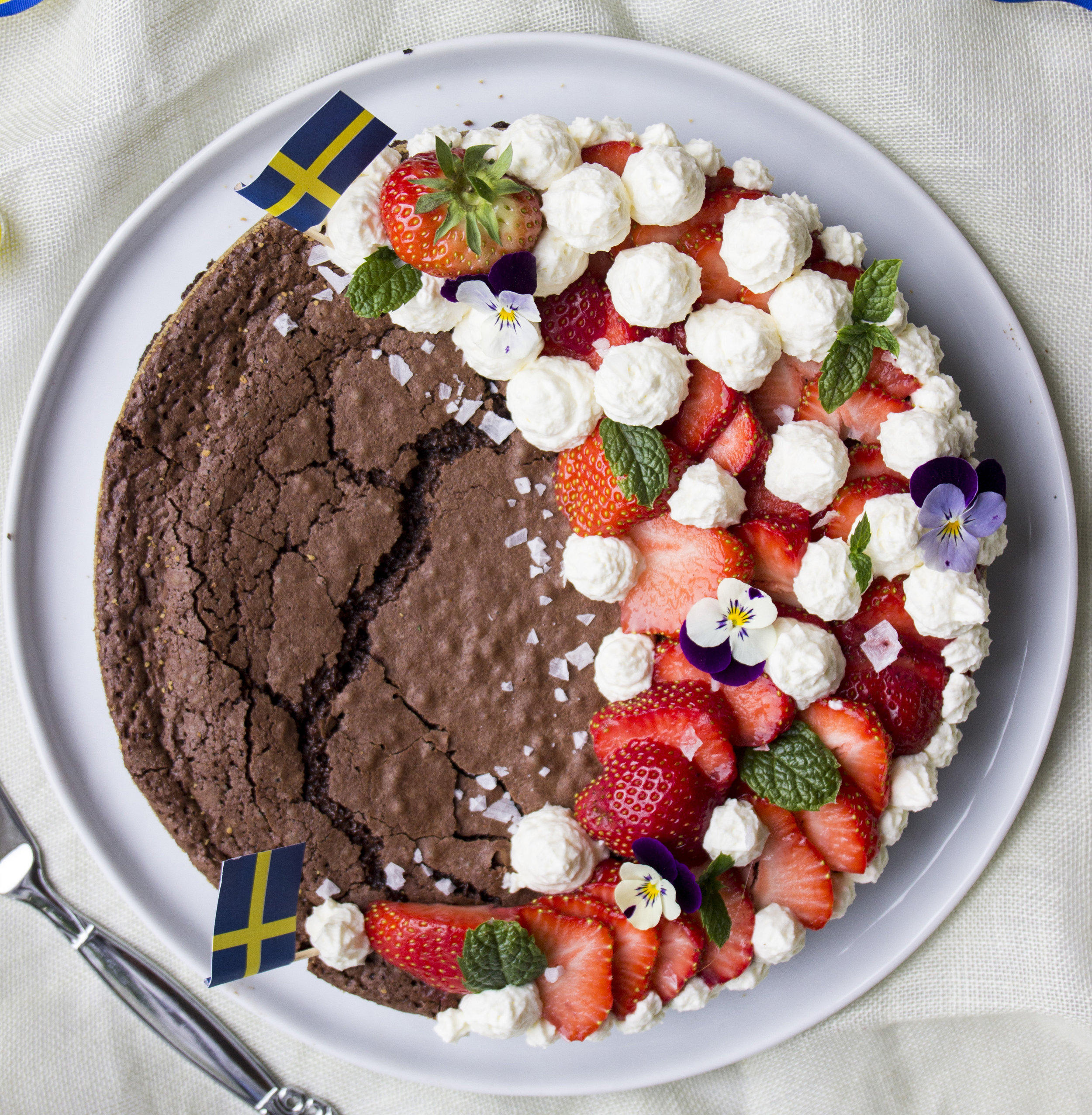 Swedish Sticky Chocolate Cake    A little sweet, a little salty, just a touch of naughty. Try Swedish sticky chocolate cake is a twist to brighten up your chocolate and strawberry cravings.