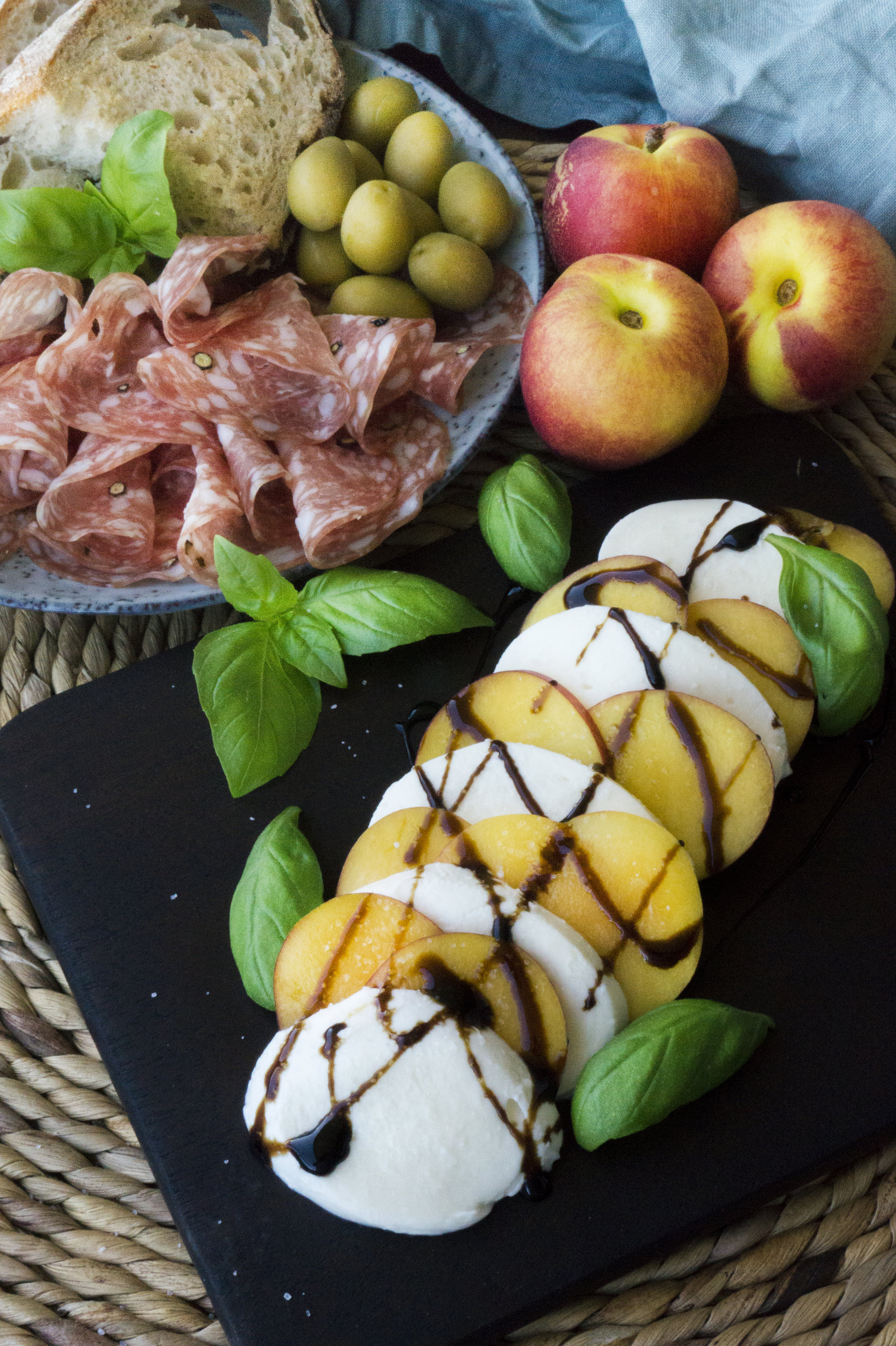 Cold Peach Caprese Salad    This salad is perfect on any hot summer day.