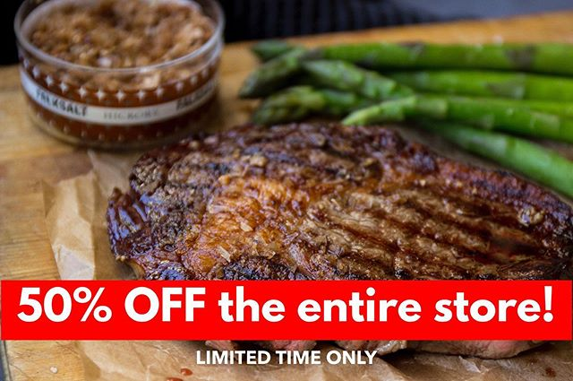 """Get read for Memorial Day Weekend with 50% off everything for a limited time! Use code """"FALKSALTBBQ"""" #falksalt #saltflakes #gourmetsaltflakes #bbq #smokeflakes"""