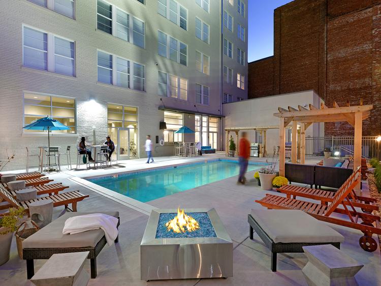 Sky Eleven outdoor pool housing features