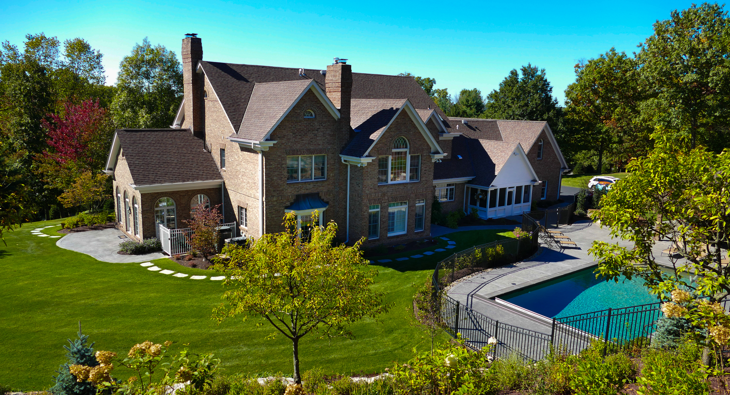 swimming pool landscaping in sewickley, pa
