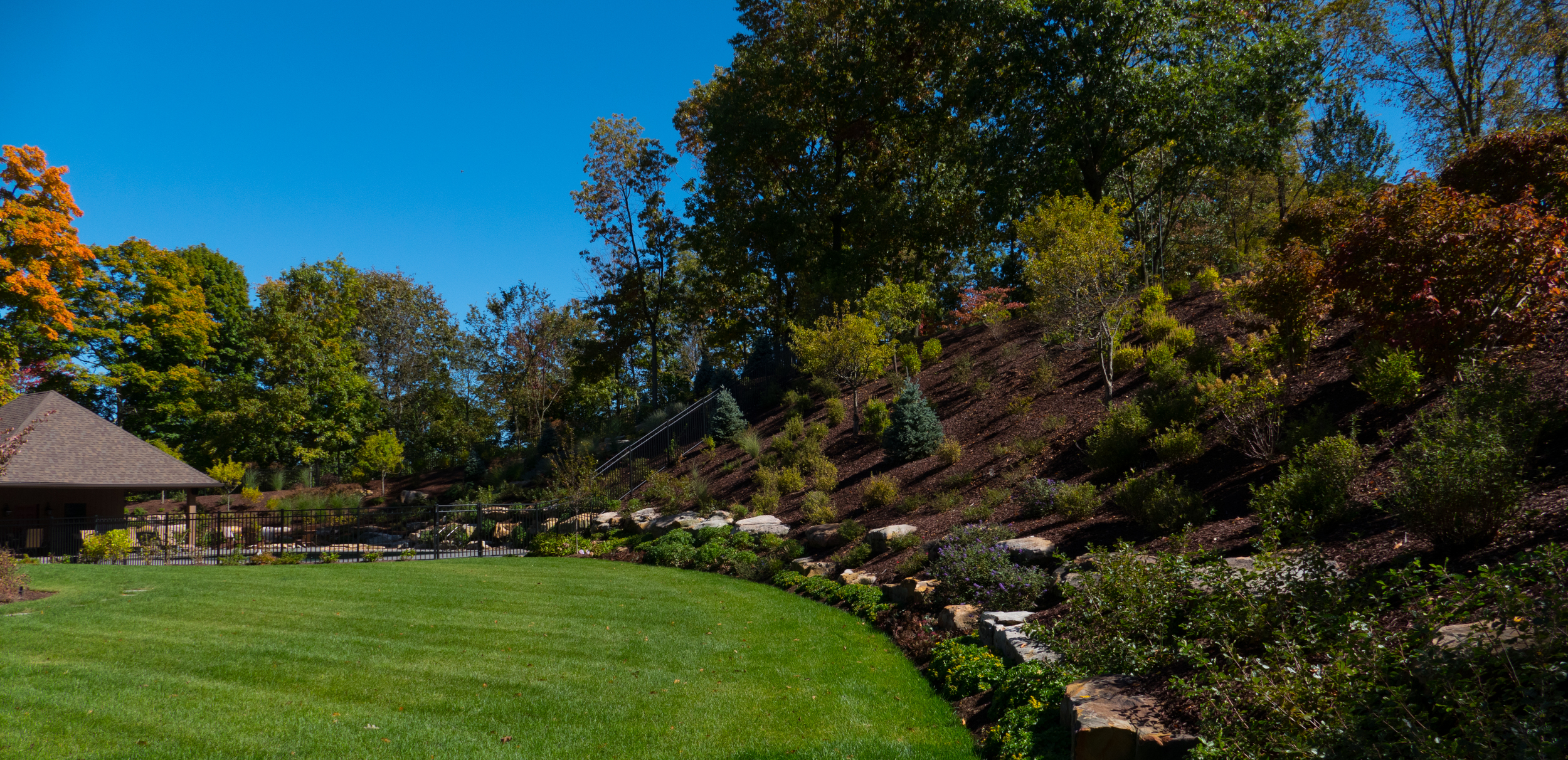 landscaping swimming pool retaining wall in sewickley, pa