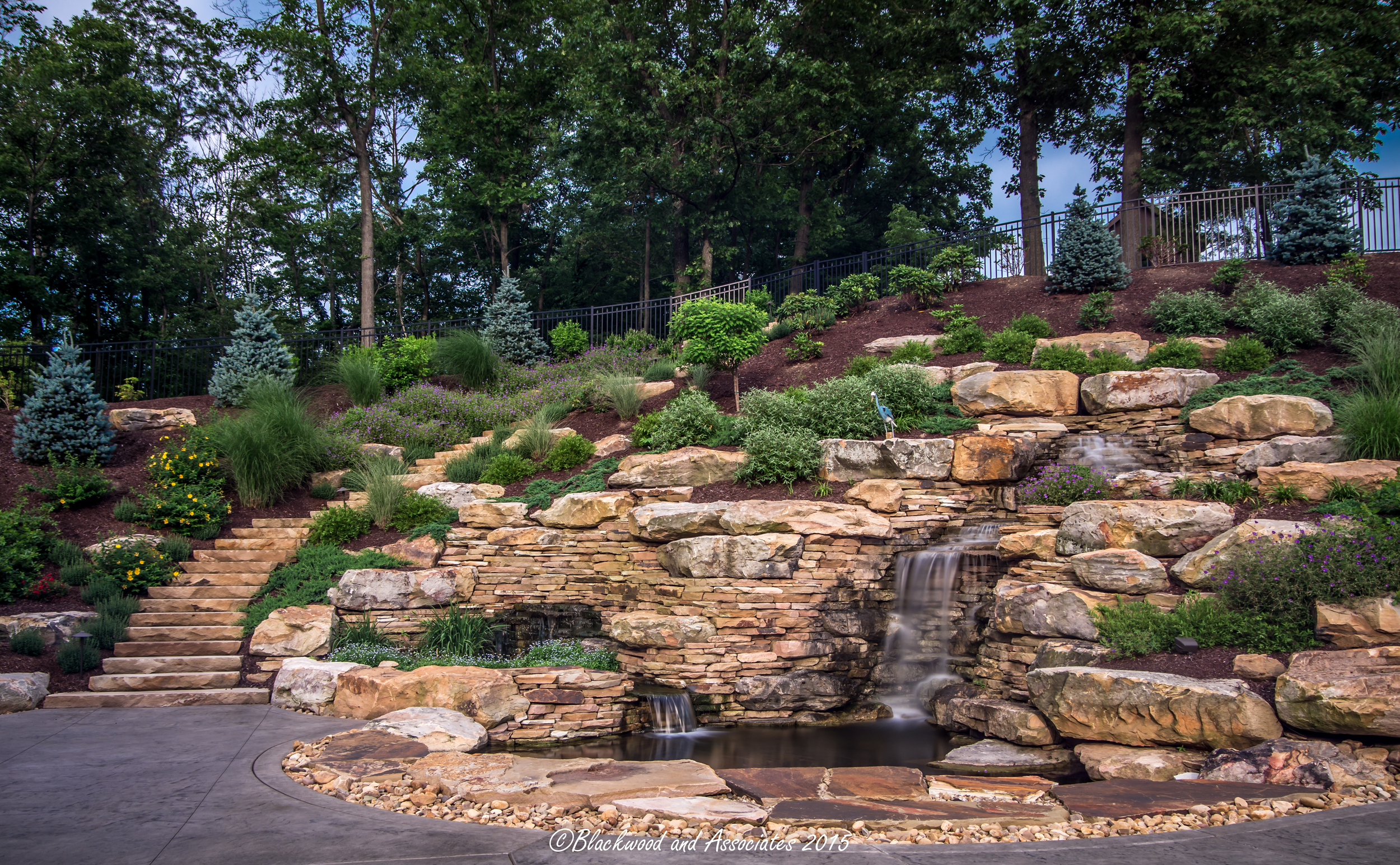 fireplace and waterfall in sewickley, pa