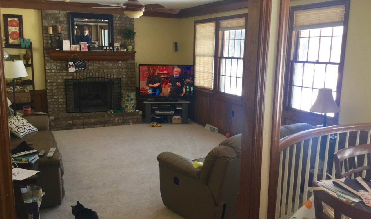 Before and after living room remodel in PA