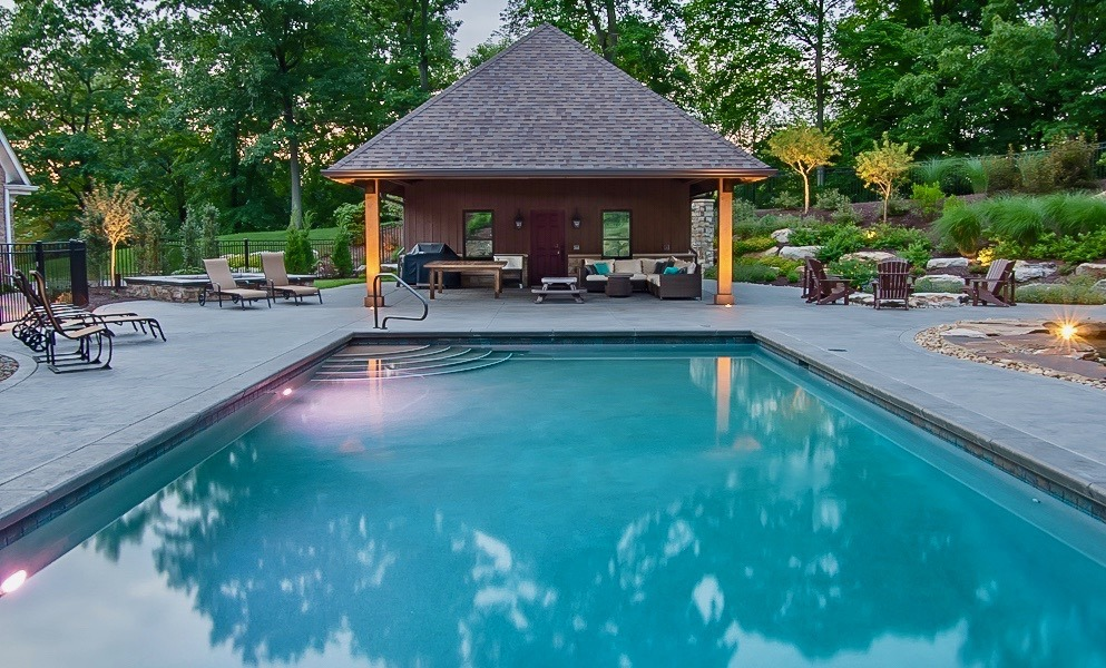 Swimming pools and pool house by the Blackwood Group in PA